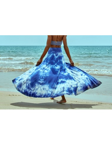 Falda larga con abertura azul tie&dye